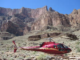 Our helicopter waiting to take us back to the top! , Matthew I - May 2011
