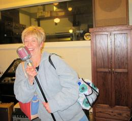 Me singing on Elvis' microphone , Nancy L - November 2013