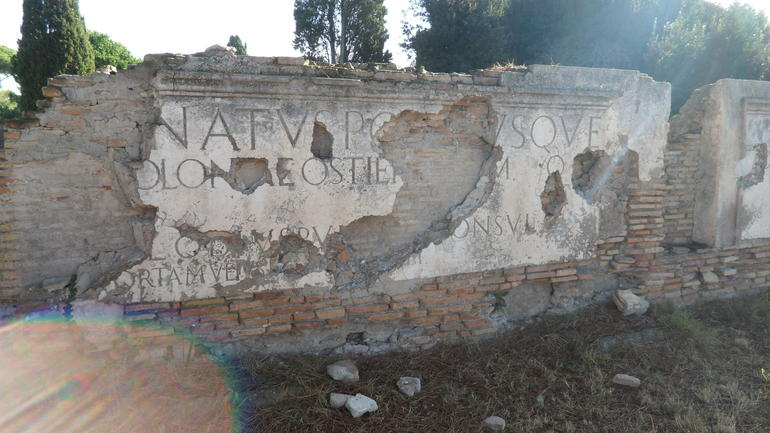 Sign at the entrance (original entrance) of town - Rome