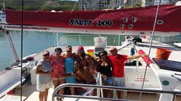 The Captain, the crew, and our group after a great day at sea , Trinette H - June 2015
