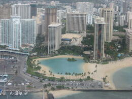 View of the Hilton Hawaiian Village from the helicopter., Bandit - February 2011