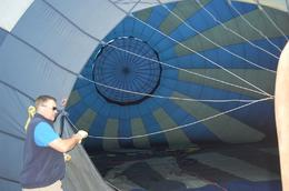 This is Glenn, from our WONDERFUL Chase Crew, helping to set up the balloon to launch., Michael B - March 2010
