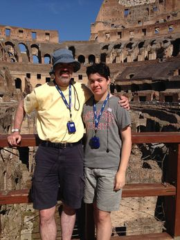 Here is my husband and son inside the colosseum. , Gwendolen H - July 2015
