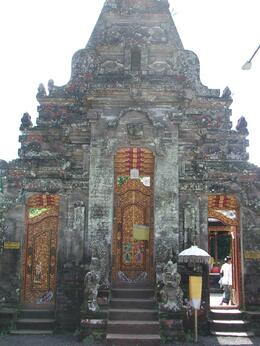 This is one of the many temples in Bali, all of which were very impressive. Some people need to wear sarongs before entering., Gail F - July 2009