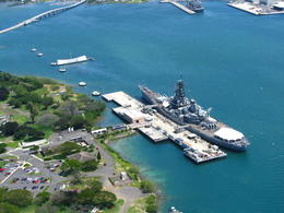 View of the USS MIssouri and the Arizona Memorial in Pearl Harbor , Mary S - March 2014