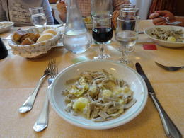 Great pasta with cabbage and potatoes. Never had that combo before. Very interesting and good! , Judy & Mike - July 2012