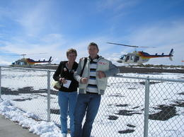 Gez and Julie Sawyer ready to go on a helicopter ride over the Grand Canyon- an awesome experience. I would recommend this!!! , Julie S - February 2011