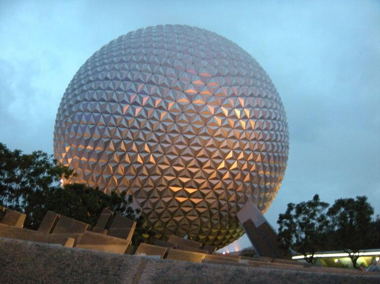 Epcot: The globe at night