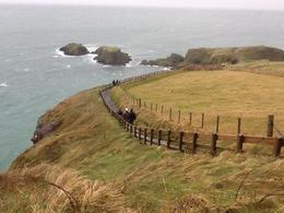 The walk toward the Carrick-a-rede bridge , Craig and Susann - January 2014