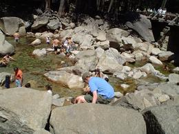 Yosemite. Everyone cooling off at the bottom of the waterfall., Lorraine M - August 2009