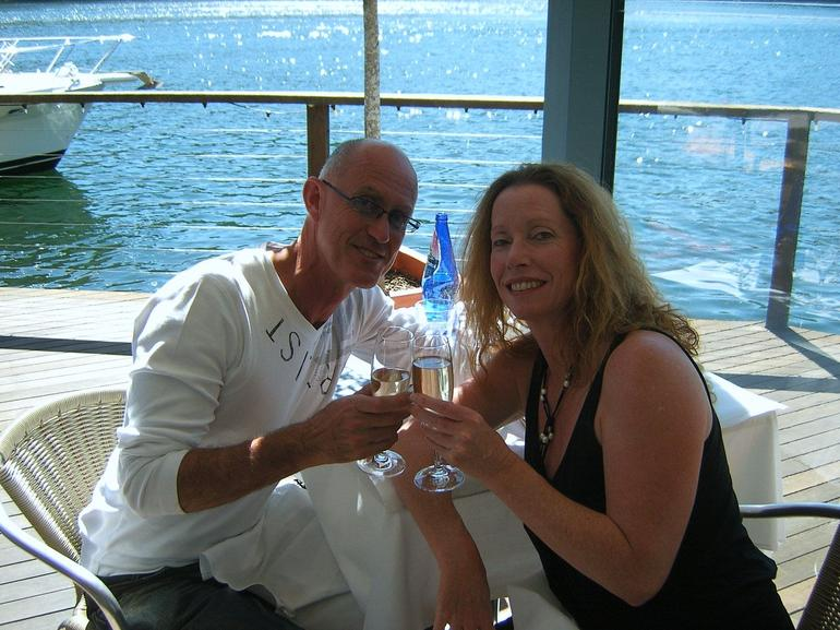 Colin & Janice - cheers with Champagne - Sydney