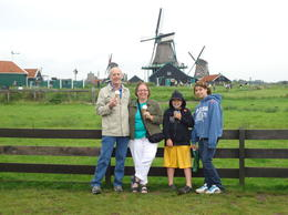 Eating ice cream after a visit to a cheese factory near the Zannse Schans windmills. Paula and Richard Michaud with their grandchildren, Dustee and Cameron. , EuroTrip - August 2011