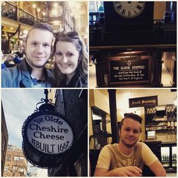 My husband and I at two of the wonderful pubs we visited on our tour. Great history in both! , ChristineQ - April 2016
