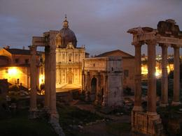 This a picture of the ancient forum at night., Kevin S - April 2008