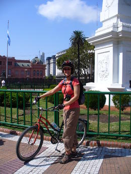 Me (Kerry) with my bike in Plaza de Mayo, downtown Buenos Aires , kerry L - May 2011