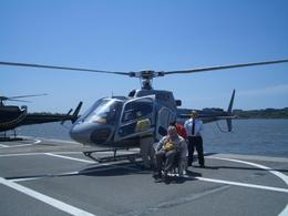 This is me, a paraplegic, having been easily lifted from my wheelchair in and out of the helicopter. Two very strong chaps did the job as I'm over 15 stone!, John W - May 2008