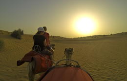 Photo of   camel ride into the sun