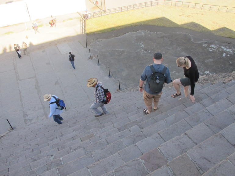 Climbing down from the Pyramid of the Sun - Mexico City