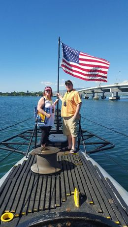My son Josh and myself, Paula, are touring the USS Bowfin at Pearl Harbor. We wanted a picture by the beautiful American Flag displayed on the submarine. , Paula P - January 2016