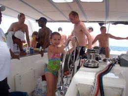 Photo of Playa del Carmen Riviera Maya Catamaran Adventure Steering the Boat