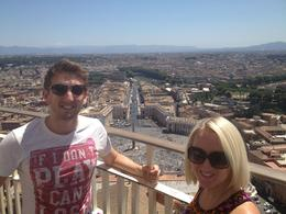 At the end of the tour, we paid an extra 7 euros to climb to the top of St Peter's Basilica. Views were worth the climb!, AlexB - July 2012
