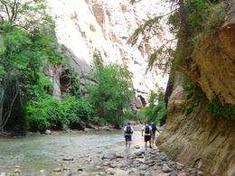 Starting our hike through the Narrows. The water wasn't deep yet, but it was about to get a lot deeper! , Leah - May 2011