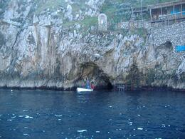 A small dinky boat as it enters the Blue Grotto., Samuel C - February 2008