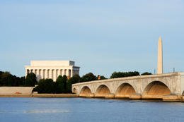 The Lincoln Memorial, Memorial Bridge and Washington Monument viewed from across the Potomac River - May 2011