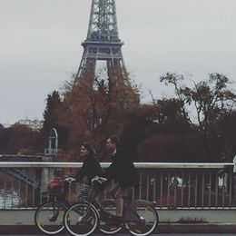 Isn't it romantic cycling together in front of Eiffel Tower. , Ravinder B - November 2015