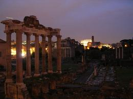 This is another picture of the forum at night with the Colosseum in the background., Kevin S - April 2008