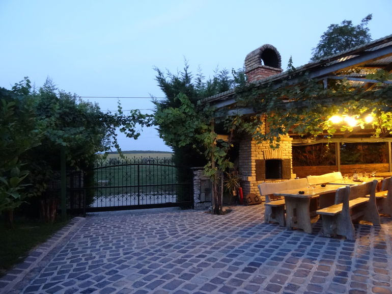 The Buzál-Mórocza Pincészet winery was our last stop and we had a great Hungarian dinner here on their patio.