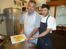 Alessandro and Mark having fun chopping carrots , Linda S - June 2014