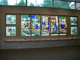 Scenes from the life and legend of our first President are depicted in these radiant and beautiful stained glass windows in the Visitor Center., Peggy B - October 2009