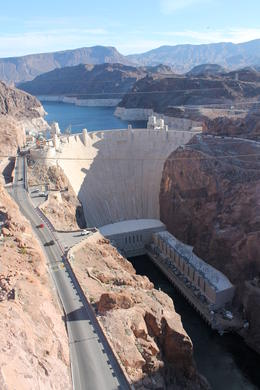 View of Hoover Dam from the new bridge. , Matthew H - February 2014