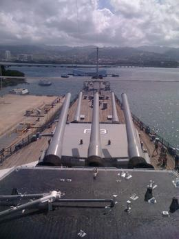 Standing in the command center of the Missouri and facing the Arizona Memorial in the distance. , Donald H - June 2011