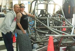 Checking out the shop before our ride., Michele Carbajal Curiel - May 2014