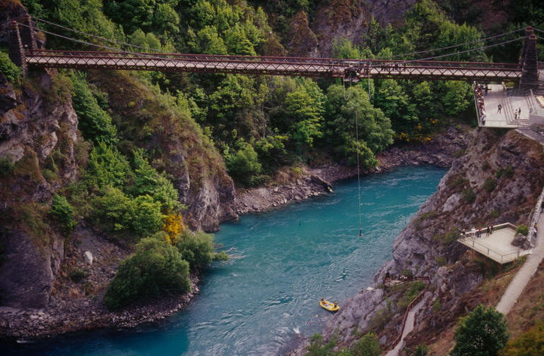 The Kawarau Bridge in Queenstown is the site of the world's first bungy jump