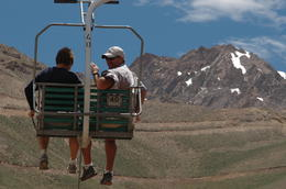 Here we are near the top of the ski lift on the tour , Guy W - December 2013