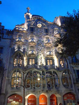 This was a shot of Casa Batllo just after our tour ended when they turned the lights on. , Arye K - September 2014