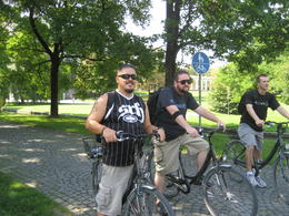 scott, jerry and ronnie waiting for the bike light to turn green. , artist4rags - October 2012