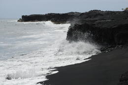 Kalapana larva field and black sand. , Margaret - May 2011