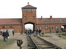 This is the famous gate of Auschwitz Camp II at Birkenau with its rail tracks that transported the prisoners direct to the Gas Chambers. - December 2009