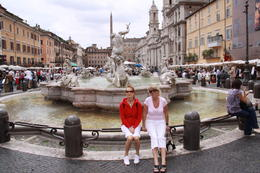 Toril and Line at Piazza Navona, Rome in front of the Poseidon statue during the Angels and Demons Tour. , bgo - June 2011