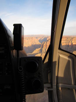 Photo of Las Vegas Grand Canyon West Rim Deluxe Sunset Helicopter Tour View to the canyon from the seat next to the captian!