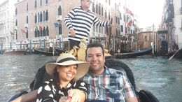 My wife and I on board the gondola, with the gondalier in the background , Stephen M - May 2016