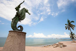 Boy on the Seahorse -- Vallarta's iconic statue on the seafront at El Malecon - November 2011