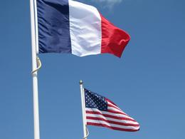 Photo of Bayeux Normandy Beaches Half-Day Trip from Bayeux French and Amerian flags