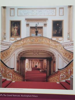 The grand staircase inside the Palace....the very same one the Queen uses as well as her guests. Again, no photos allowed inside but this was a poster posted on the fence advertising admission., Corrie R - September 2009