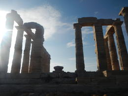 Photo of Athens Cape Sounion and Temple of Poseidon Half-Day Trip from Athens View through the setting sun