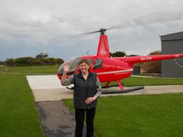 Mel from Tasmania just before going on the helicopter trip over the 12 apostles on Great Ocean Road trip. Wayne (driver) did well to get us there on time and the helicopter trip was fantastic. I ... , Melva S - September 2010